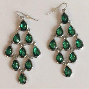 Green with Silver Chandelier Earrings